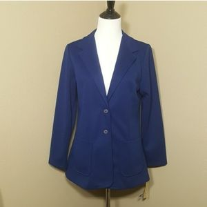 VTG 70s Blue Double Knit Polyester Blazer Jacket